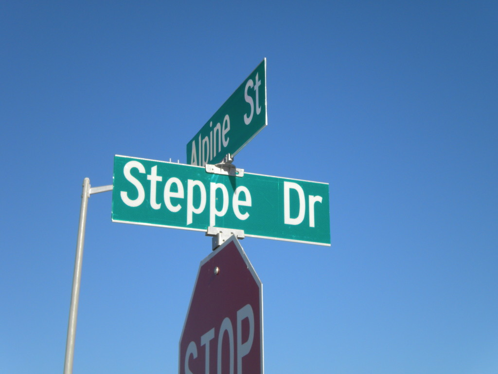 Steppenwolf photographs Steppe Drive sign