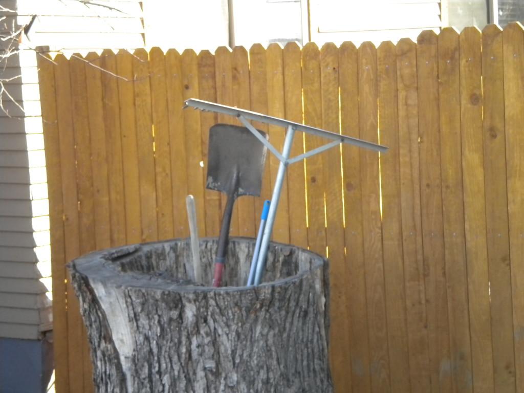 tree trunk tool storage