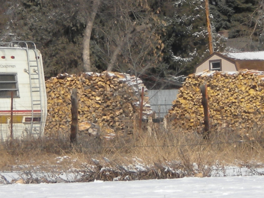some REALLY BIG piles of firewood