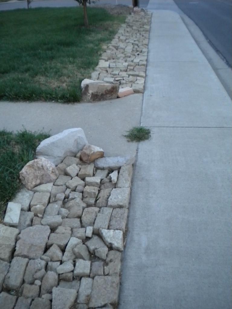 rock sidewalk border