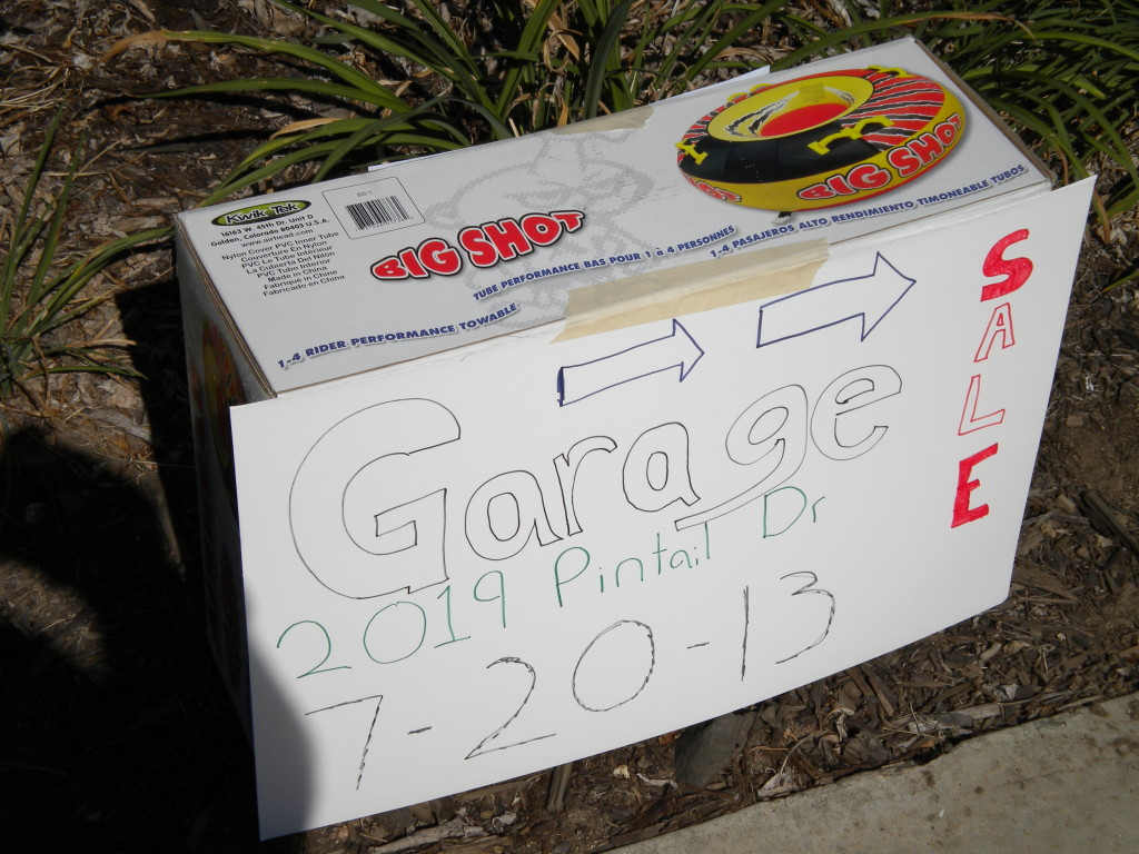 nice garage sale sign