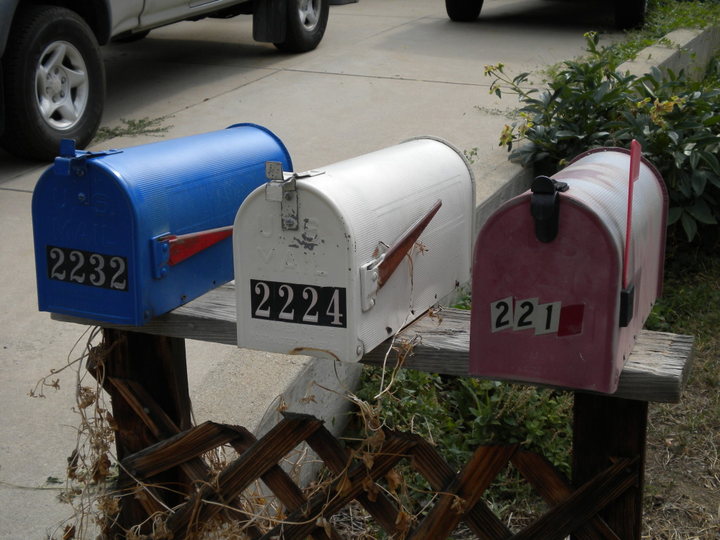 Patriotic mailboxes in reverse... (blue, white, and red)