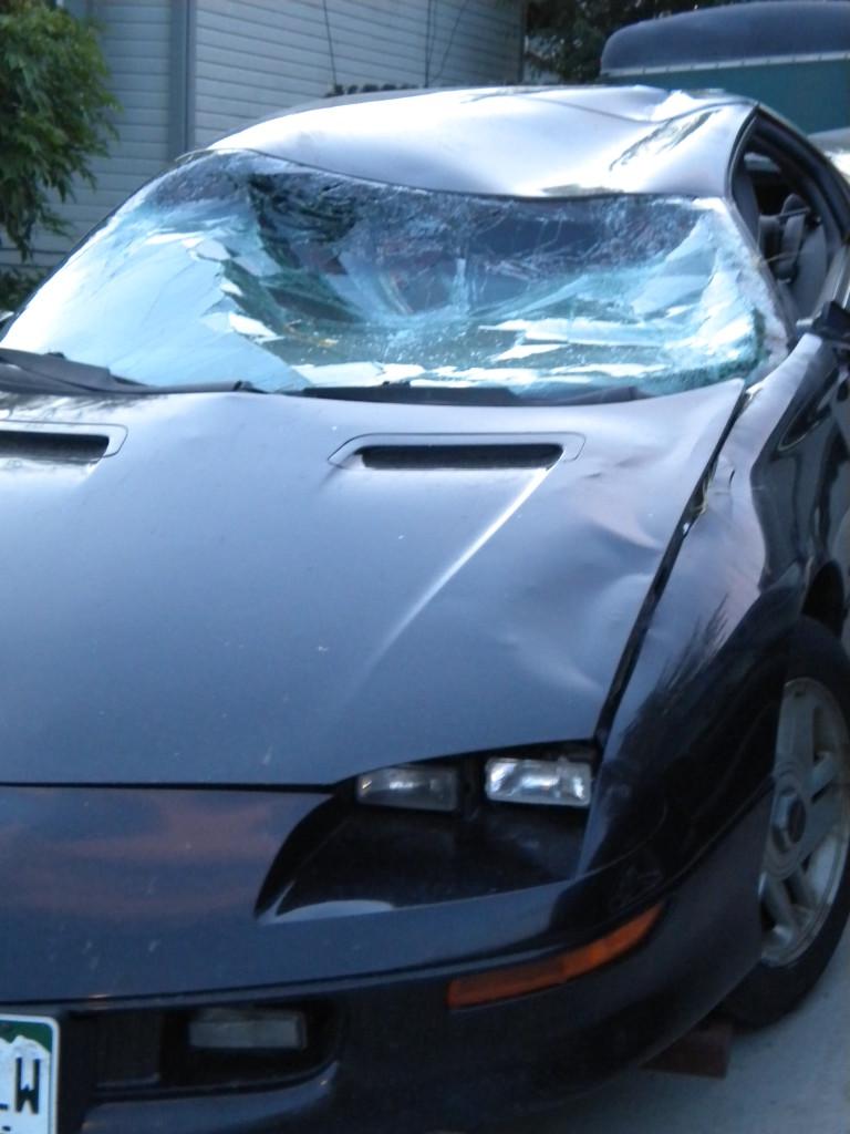 Did this car meet a deer?