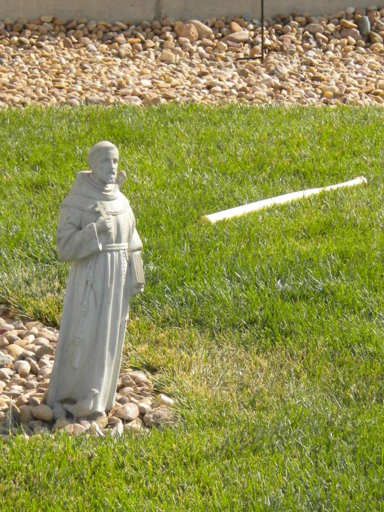 St. Francis (?) with baseball bat