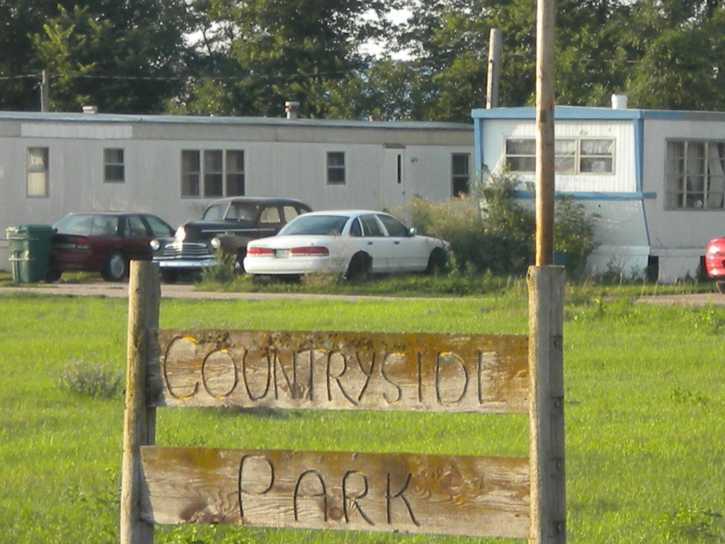 Rustic sign for Countyside Park