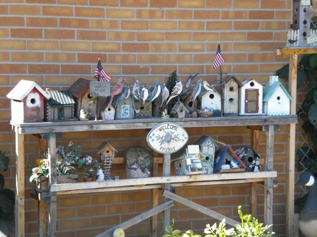 Joe's birdhouses in yard
