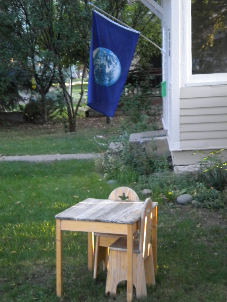 table and flag