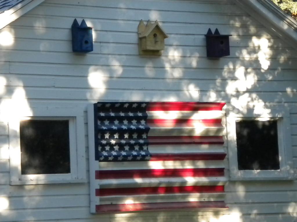 flag with birdhouses