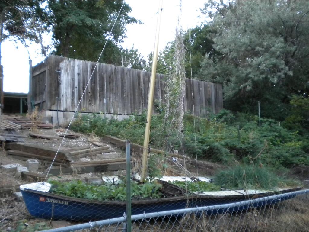 back yard boat planter