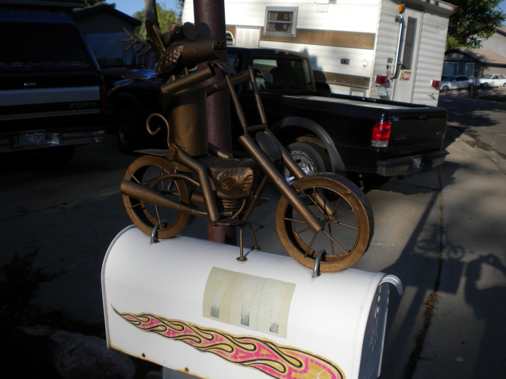 Moose on Motorcycle Mailbox