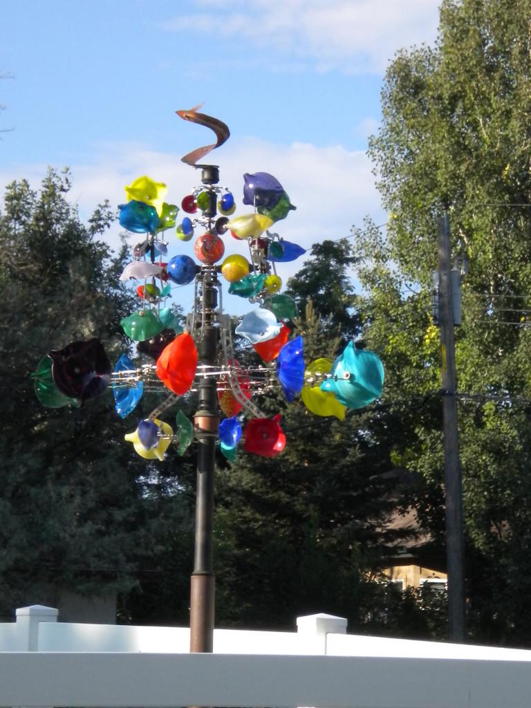 Colorful backyard art
