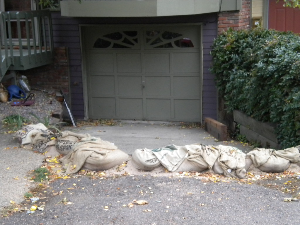 sandbags to keep the water out?
