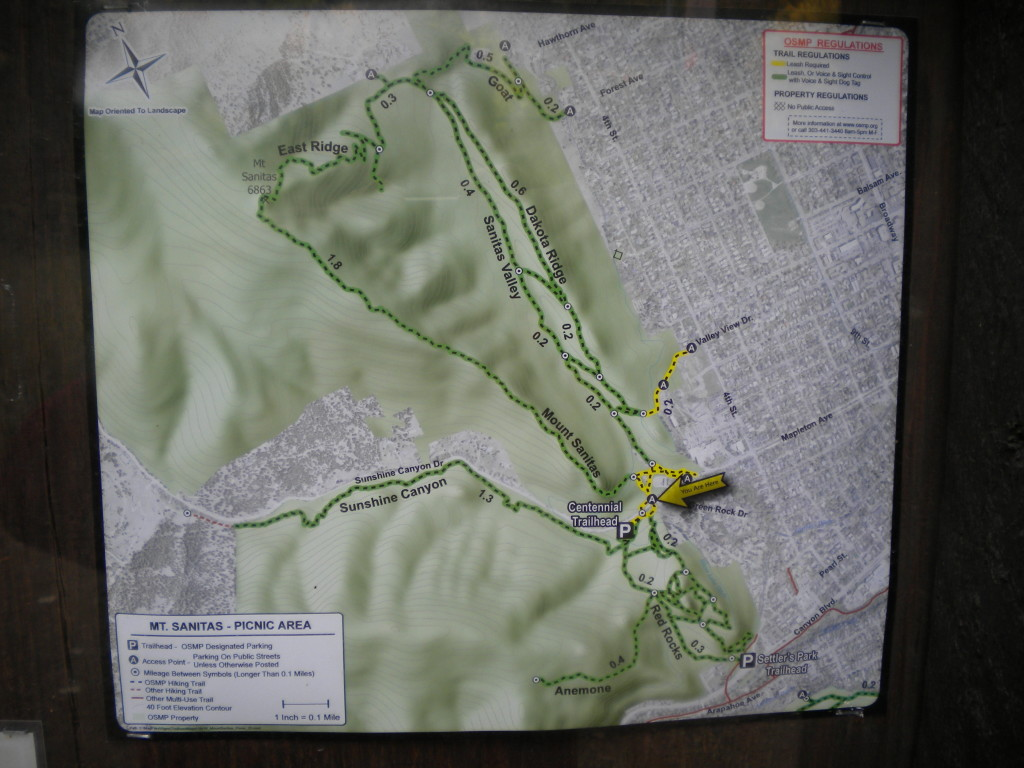 Map of Mt. Sanitas trails