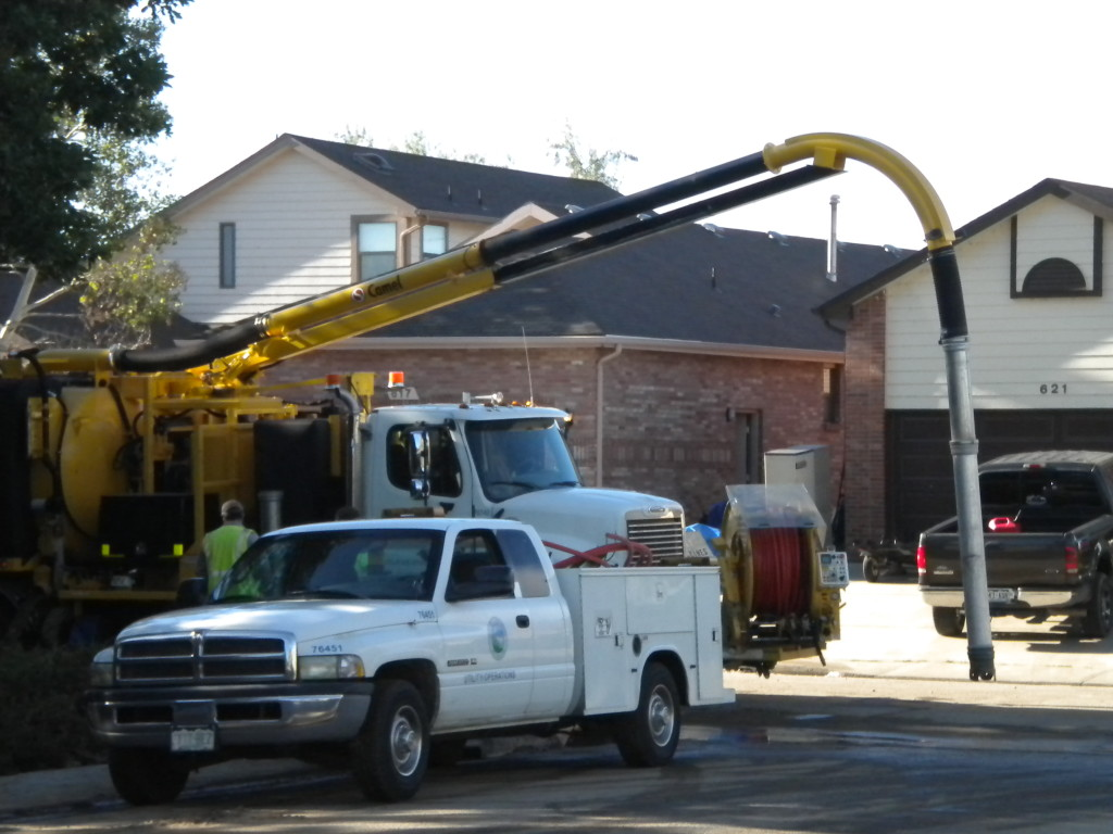 utility truck moving water