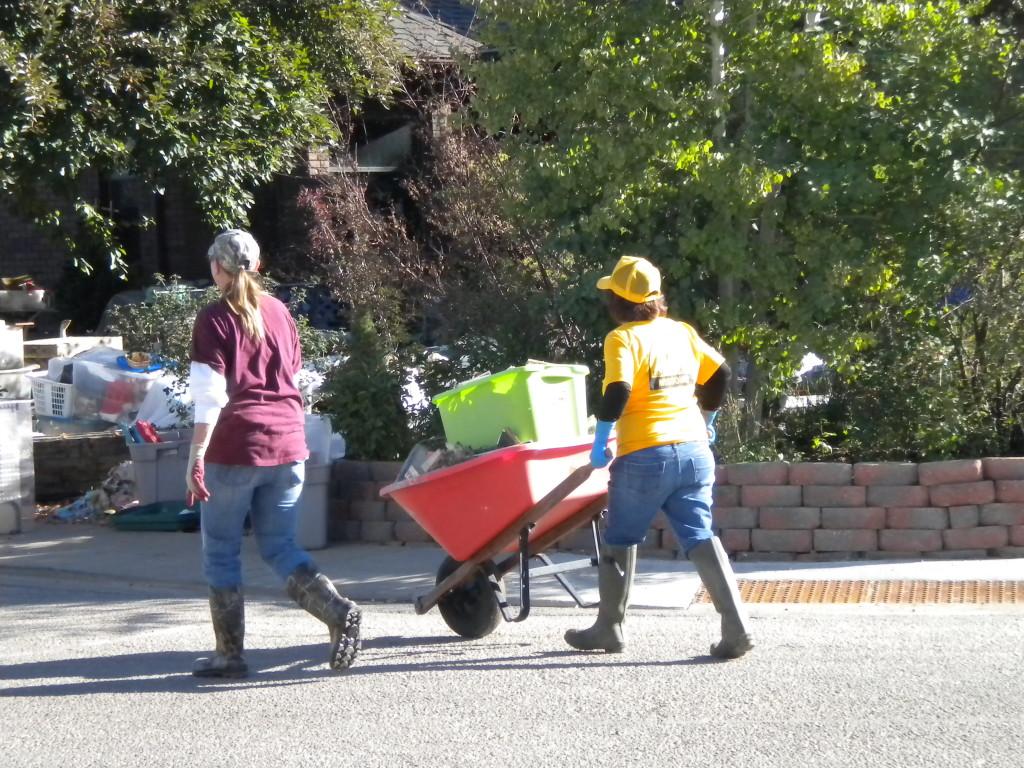 hauling off debris
