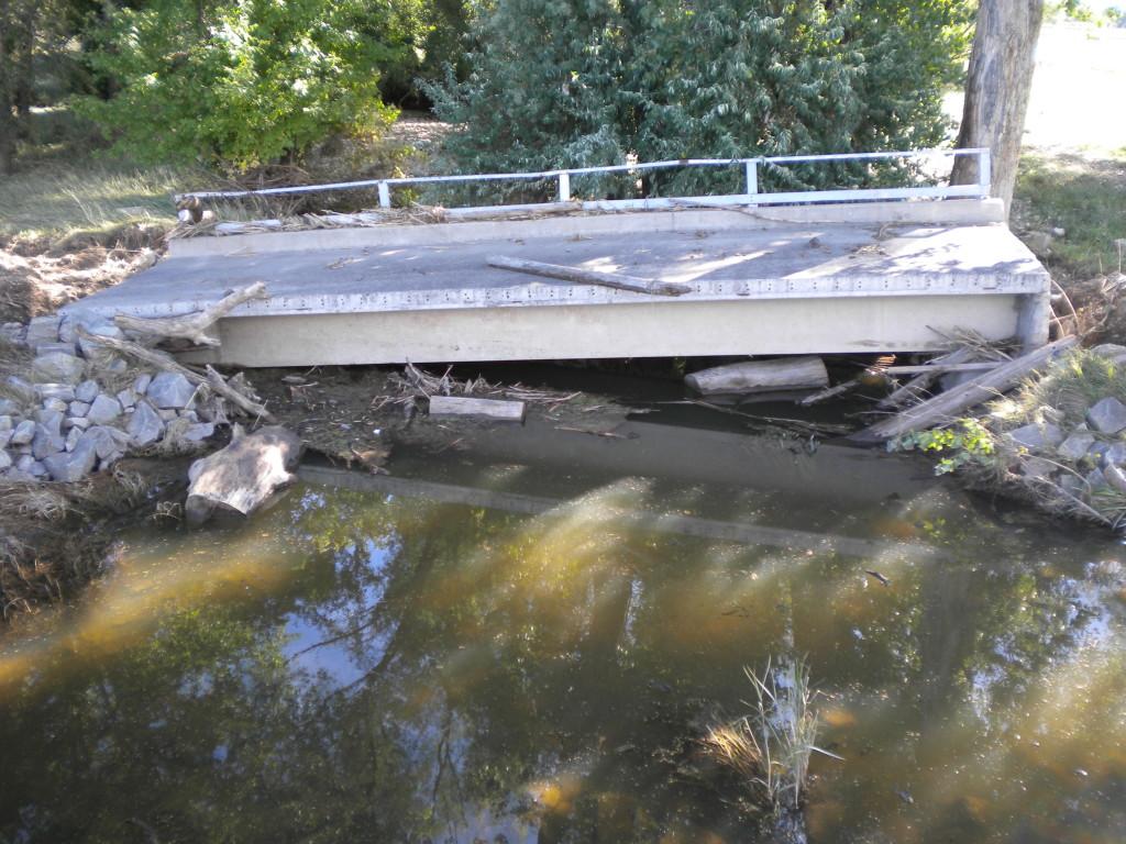 (farmer's?) bridge out near St. Vrain river & Airport Rd.