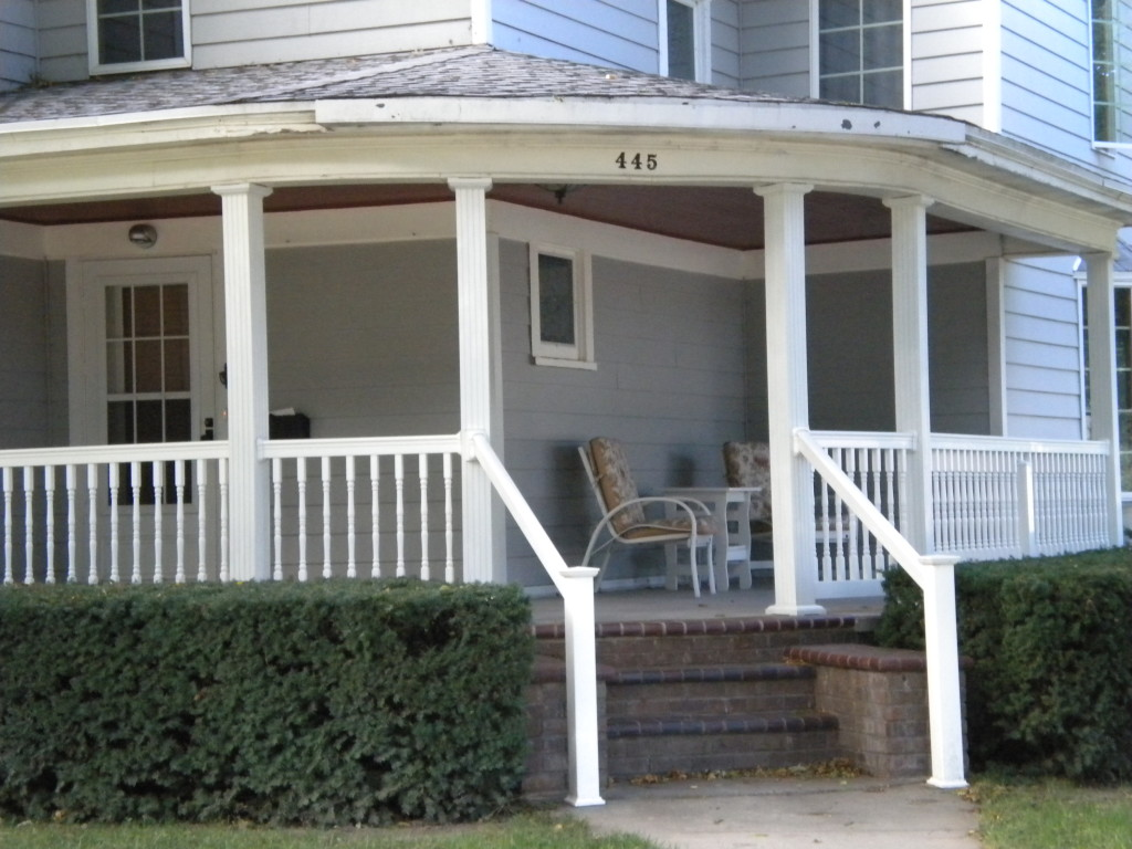 front door to the left, relax on porch to the right
