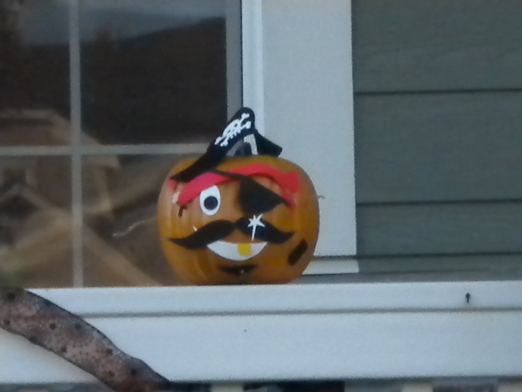 very mildly scary pirate pumpkin