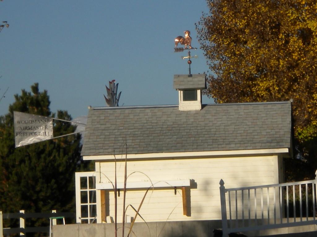gold rooster vane, plus Freeport, Illinois windmill vane