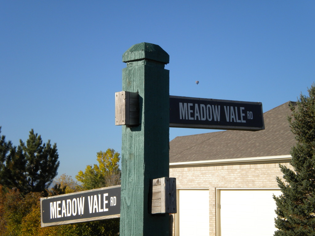 intersection of Meadow Vale & Meadow Vale (also with hot air balloon)