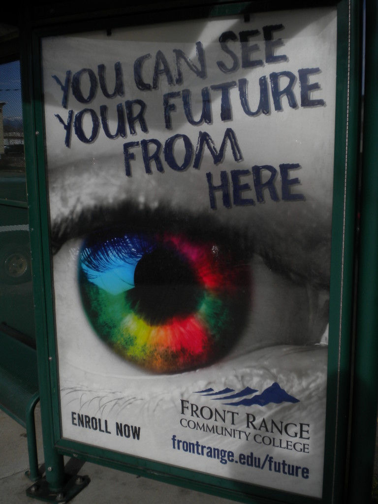 bus stop ad for Front Range Community College