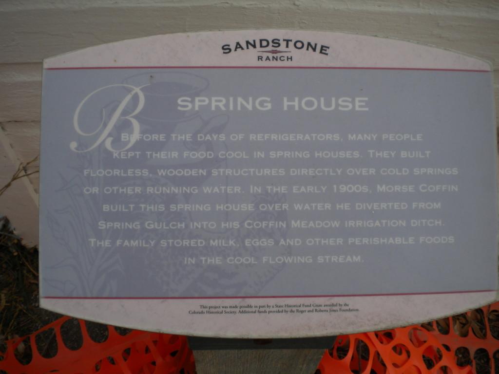 Sandstone Ranch Spring House sign
