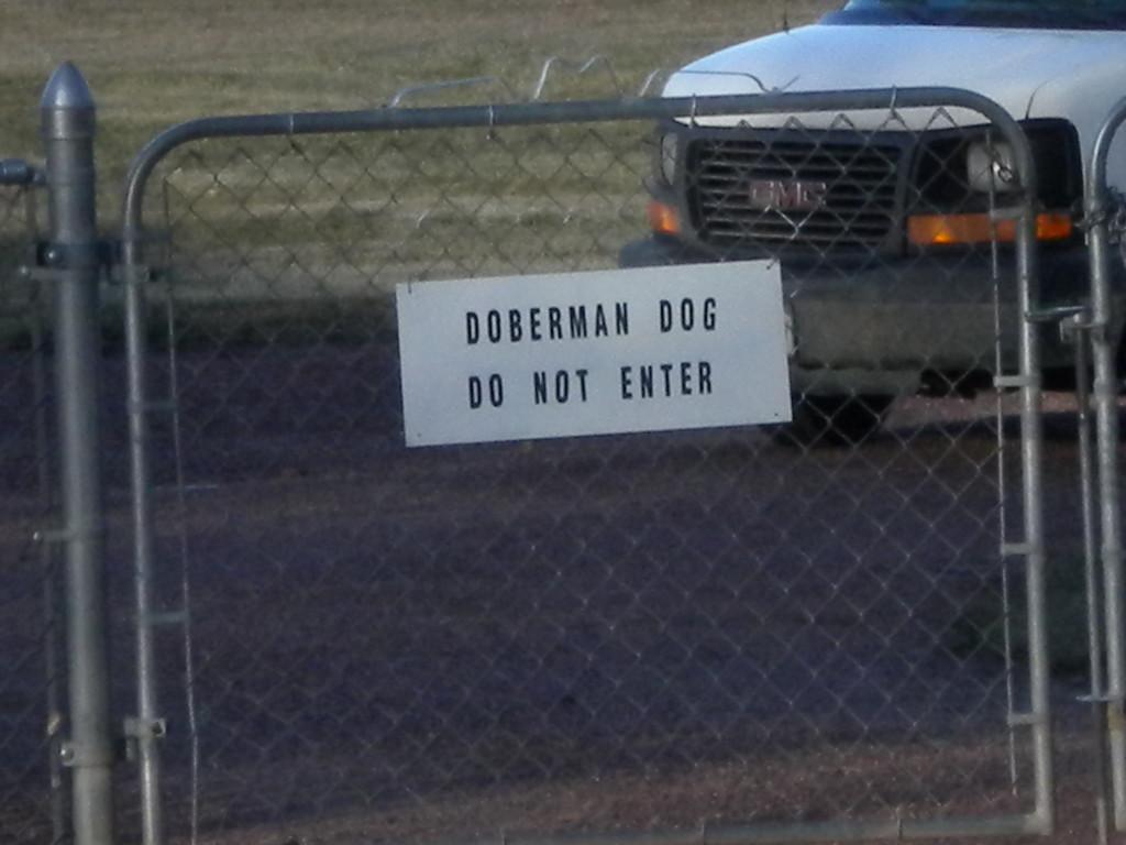 East Quail Road - Doberman warning