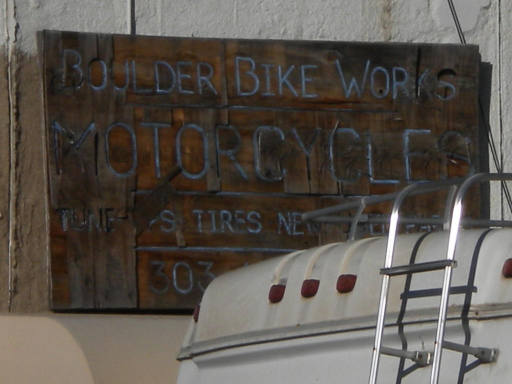 faded Boulder Bike Works sign
